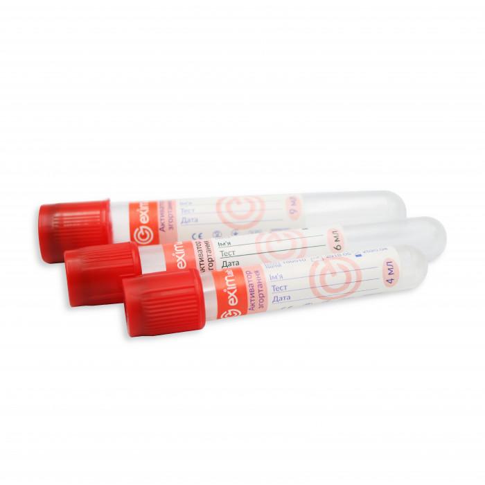 Пробірка вакуумна EximLab 4 мл з активатором згортання червона кришка 13х75 мм (100 шт/уп)